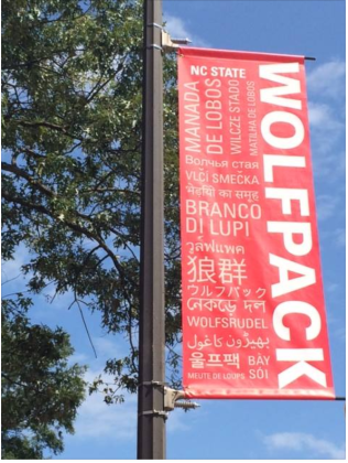 Wolfpack in different languages across campus
